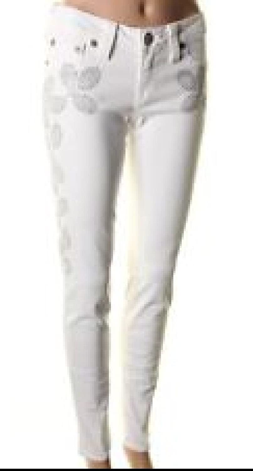 True Religion Women's Floral Studded Jeans, Optic White, 24
