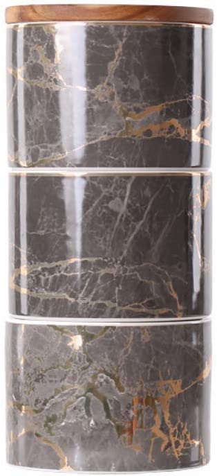 XUDREZ 3-Piece Marble Food Storage Jar, Ceramic Kitchen Canisters with Airtight Seal Bamboo Lid, Food Storage Canister for Tea, Coffee Bean, Spice, Sugar, Flour (Gray)