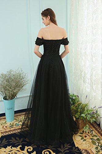 4 Élégante Prom Sun 10 Goddess De Aplliques Robe Dentelle Banquet De Par Formelle Des Parti Longueur Soirée Voile Noire Cordons La Robe FRCcgwFBq