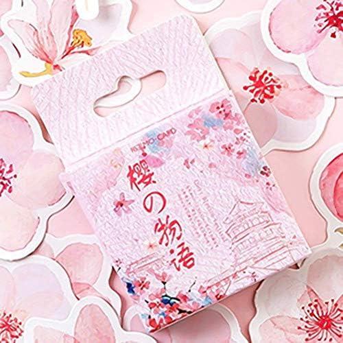 Zhenzhiao 46pcs/Set Japanisch Kirschblüten Planer Blumen Tagebuch Deco Papier Klein Kawaii Sticker Stationäre Scrapbooking Tagebuch 2020 - H01
