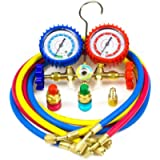 Ziss A/C Diagnostic Manifold Gauge Set for Refrigeration Charging, Fits R12 R22 R134a R502 Refrigerants with Couples…