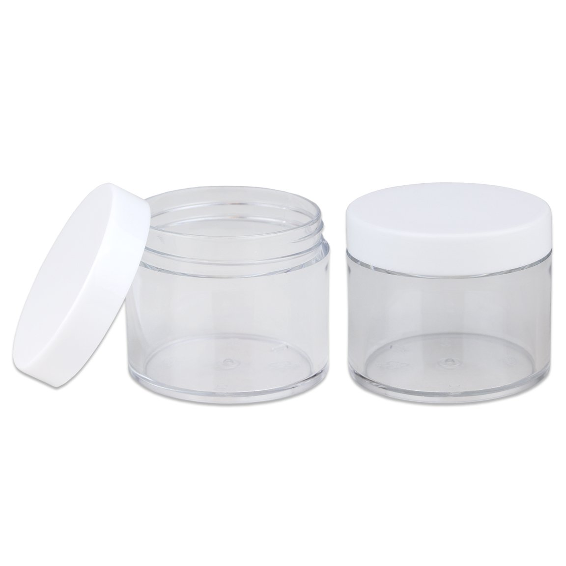 Beauticom 60 Grams/60 ML (2 Oz) Round Clear Leak Proof Plastic Container Jars with White Lids for Travel Storage Makeup Cosmetic Lotion Scrubs Creams Oils Salves Ointments (12 Jars) by Beauticom® (Image #3)