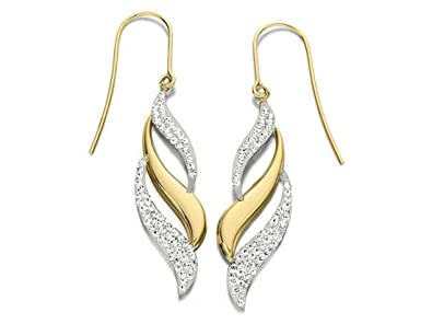 9ct Gold Crystal Triple Flame Hook Wire Earrings - 30mm drop - EXCLUSIVE lcFBv