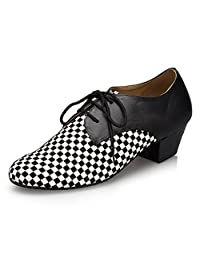 Minitoo Men's Checkered Leather Latin Dance Shoes Party Shoes