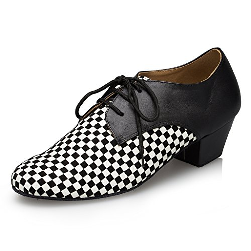 Miyoopark Mens White Black Shoes Shoes Checkered Latin Leather Party Dance HHwArqUTf