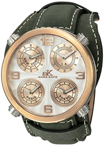 Adee Kaye Men's Quartz Stainless Steel and Leather Dress Watch, Color:Green (Model: AK2275-RGSV/ GN-Wide)