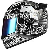 1STORM MOTORCYCLE BIKE FULL FACE HELMET MECHANIC SKULL - Tinted Visor BLACK