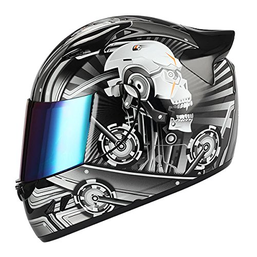 1STORM MOTORCYCLE BIKE FULL FACE HELMET MECHANIC SKULL - Tinted Visor BLACK