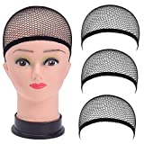 MaxFox 3 Pc Wig Caps,Elastic Stocking Wig Liner Nylon Stretch Natural Nude Close Net Mesh Caps (Black)