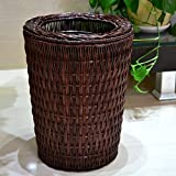 Large 38L Household Baskets Waste Bins, Wicker&Rattan Paper Basket, Open Cover,Brown