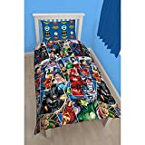 Justice League Childrens Boys Invincible Reversible Duvet Cover Bedding Set (Twin Bed) (Multicoloured)