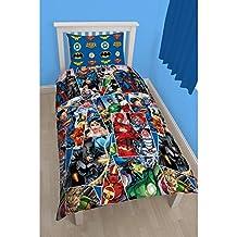 Justice League Childrens Boys Invincible Reversible Duvet Cover Bedding Set (Twin Bed) (Multicoloured)