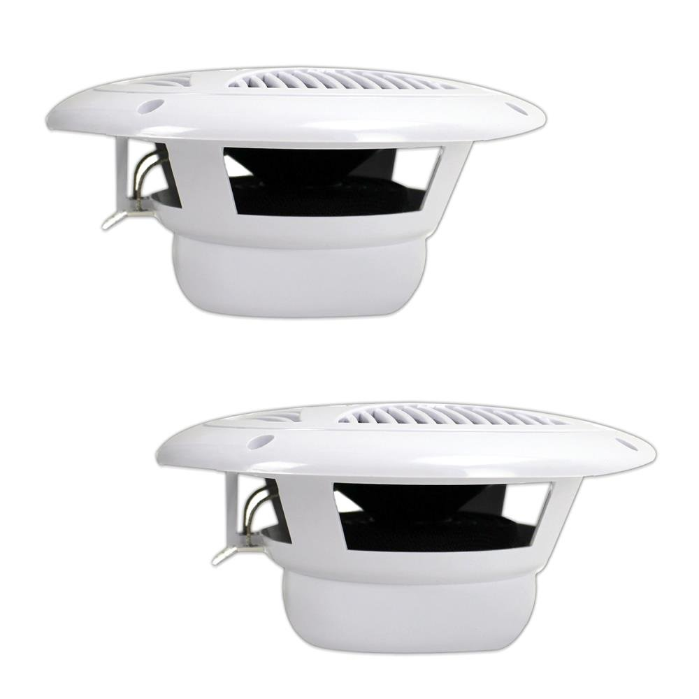 White 1 Pair PLMR60W 2 Way Waterproof and Weather Resistant Outdoor Audio Stereo Sound System with 150 Watt Power 6.5 Inch Dual Marine Speakers Polypropylene Cone and Cloth Surround