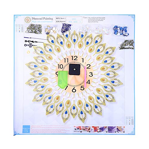 Mr.Macy 5D Diamond Embroidery Crystal Bright Rhinestones Clock Profiled Drill Part Sticky Q ()