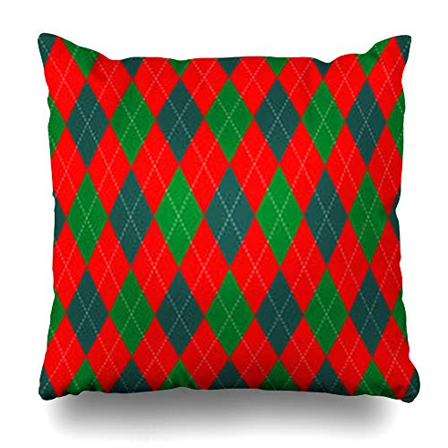 Krezy Decor Throw Pillow Cover Christmas Argyle Plaid Pattern Shades Green Flannel Red Bright Check Checkered Chequer Color Sofa Pillowcase Square Size 20 x 20 Inches Home Decor Pillow Case ()