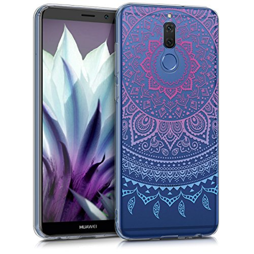 kwmobile TPU Silicone Case for Huawei Mate 10 Lite - Crystal Clear Smartphone Back Case Protective Cover - Blue/Dark Pink/Transparent