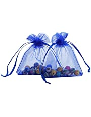 Ankirol 100pcs Sheer Organza Favor Bags 3x4'' Jewelry Candy Gift Bags Samples Display Drawstring Pouches
