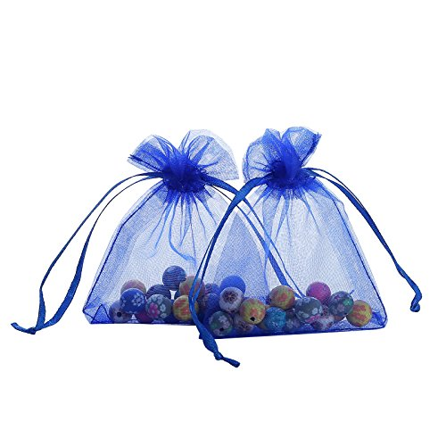 Ankirol 100pcs Sheer Organza Favor Bags 3x4'' Jewelry Candy Gift Bags Samples Display Drawstring Pouches (royal blue) (Bags Organza Sheer Favor)