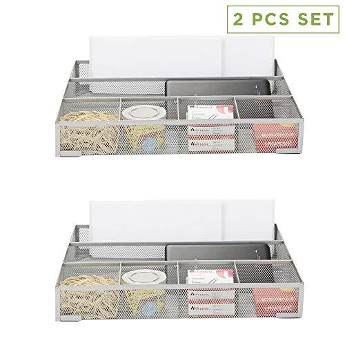 Mind Reader 2DEER-SIL 2 Piece Deep, Desk Accessories Wire Mesh 6 Compartments, Storage Drawer Organizer, Silver (Mesh Drawer Organizer Silver)
