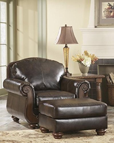 Ashley Furniture Signature Design   Barcelona Chair   Traditional With Faux  Leather  Antique Brown