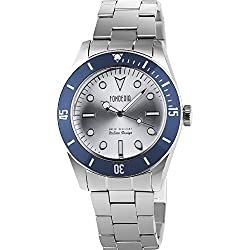 Men's Italian Designed Novecento by Fonderia Stainless Steel Sliver Dial with Blue Bezel Quartz Watch P-7A002USB