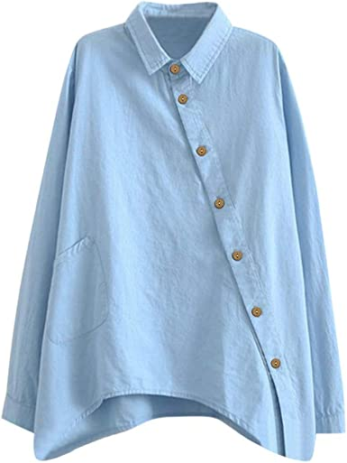 Camisas Mujer Manga Larga, Camisa Mujer Elegante AsimetríA, Casual Ladies Camisas De Manga Larga De Color SóLido De Moda Casual para Mujer: Amazon.es: Ropa y accesorios