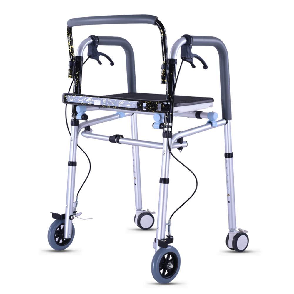 XXHDEE Elderly Walker with Hand Brake with Wheels Walking Frame Disabled Walker Folding Walking Frame Walking aids by XXHDEE