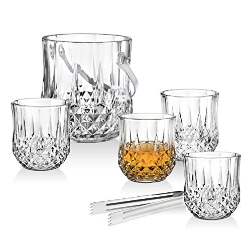 Barware Old Fashioned Tumbler Glasses and Ice Bucket with Tongs Set - For Whiskey, Scotch, Cocktails or Vodka