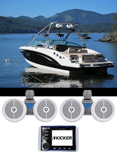 "KICKER KMC20 Marine Bluetooth Receiver 4 Boat/ATV/UTV+(2) Dual 6.5"" Wakeboards"