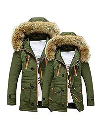 Men Clothes Clearance Charberry Unisex Women Men Outdoor Coat Fur Wool Fieece Warm Winter Long Hood Jacket