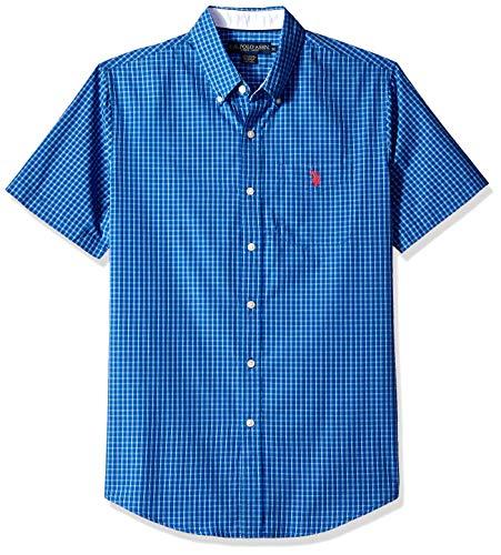 U.S. Polo Assn. Men's Short Sleeve Classic Fit Plaid Shirt, Wedding Blue, L ()