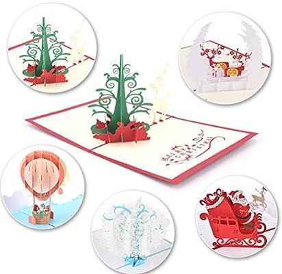 Amazon.com: JUNKE 3d tarjetas de Navidad hechas a mano ...