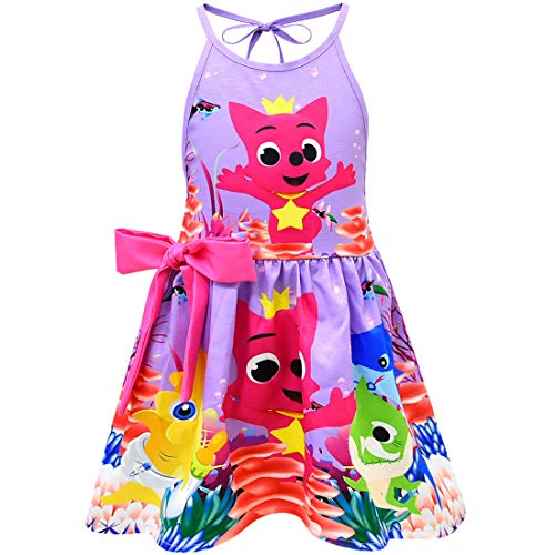 Coralup Toddler Girls Baby Shark Backless Sundress(Purple,4-5 Years)