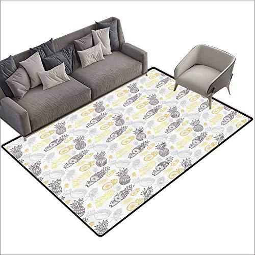 Non-Slip Modern Carpet Pineapple Decor Collection,Pineapple Fruits Ananas Healthy Diet Ornamental Fabric Design Pattern,Slate Blue Yellow Grey 80