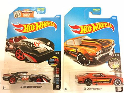 Hot Wheels 2017 Nightburnerz '70 Chevy Chevelle Orange & BONUS: Hot Wheels 2016 HW Mild to Wild '76 Corvette Greenwood 63/250, - 76 Chevelle Chevy
