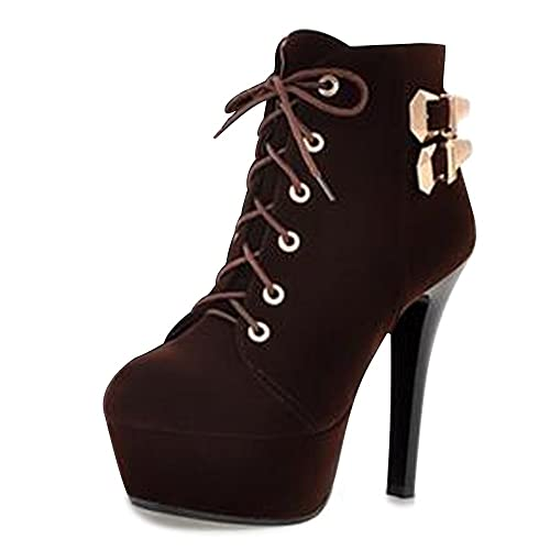 bcb5a2351 OCHENTA Mujer Botines de Tacon Alto Delgado de Plataforma Cordon-Arriba  Marron 43  Amazon.es  Zapatos y complementos