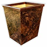 American Walnut Burl Veneer Wastebasket Small Size 13Qt - With White Liner