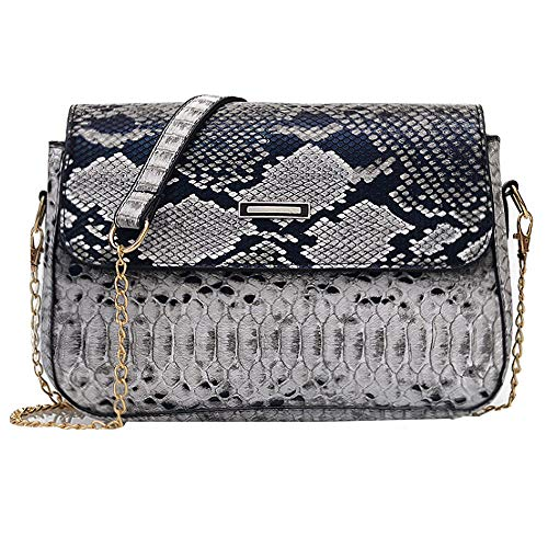 CLARA Women Snakeskin Pattern Shoulder Bag PU Leather Crossbody Bag Chain Satchel Handbag Gray