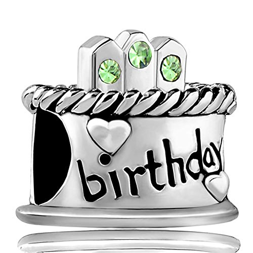 LovelyJewelry Birthday Cake Charms August Peridot Birthstone Candles Happy Birthday Beads For Bracelets