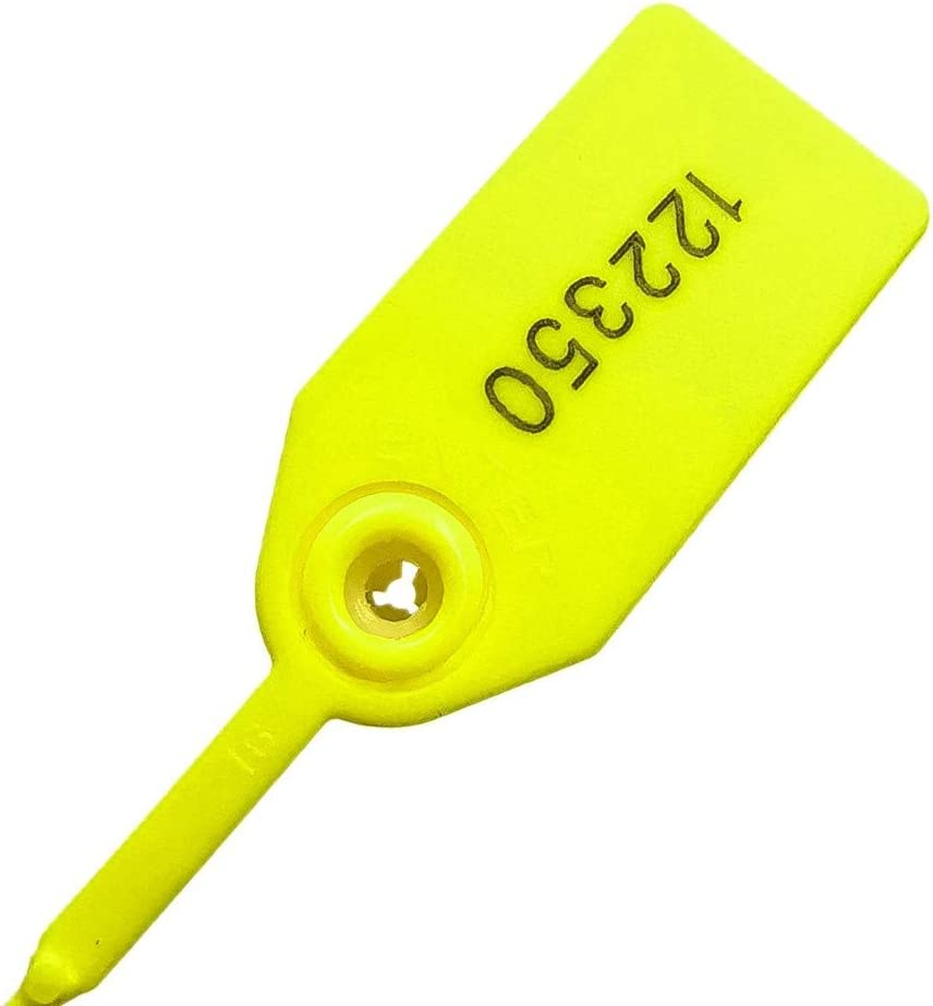 Plastic Security Seals 9.84in Tamper Proof Self Locking Security Tags Pull-Tite Signage Ties Numbered Orange Pack of 100 PCS