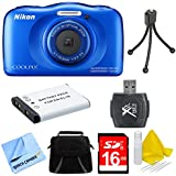 Nikon COOLPIX S33 13.2MP Waterproof Digital Camera and 16GB SD Memory Card Bundle with Accessories, Blue