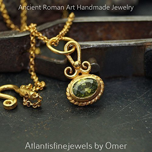 Peridot Necklace w/ chain Sterling Silver Handmade Fine Turkish Jewelry By Omer - Etruscan Yellow Ring