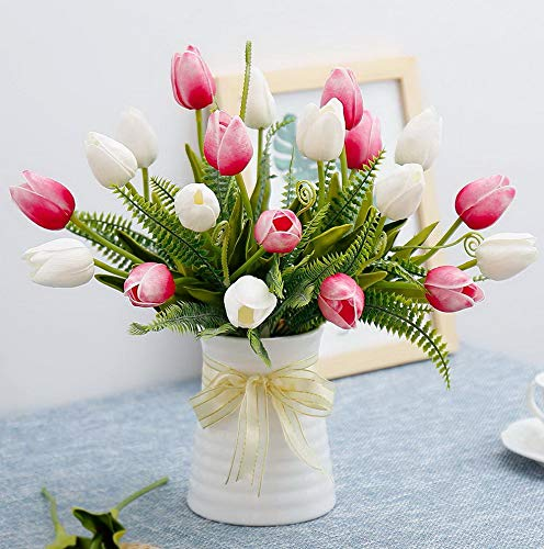 Mikash Artificial Tulips Flowers with Ceramics Vase Fake Tulip Bridal Bouquets Real Touch Flowers Arrangement for Home Table Wedding Office Tion(White&Red) | | Model WDDNG - -