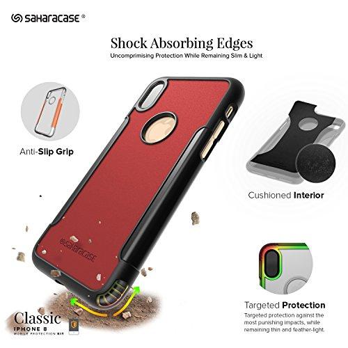 iPhone x custodia, Saharacase protettiva kit Bundle con schermo in vetro temperato [Zerodamage] robusto Slim Fit protezione antiscivolo grip [antiurto paraurti posteriore dura] iPhone 10–nero rosso