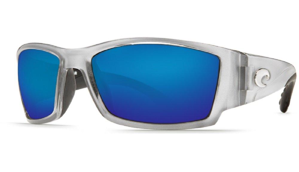 Costa del Mar Unisex-Adult Corbina CB 18 OBMGLP Polarized Iridium Wrap Sunglasses, Silver, 61.2 mm