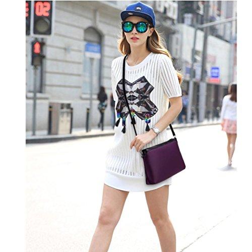 Malloom 3 pcs /set Moda mujer bolso bandolera + mochila + monedero (azul) morado