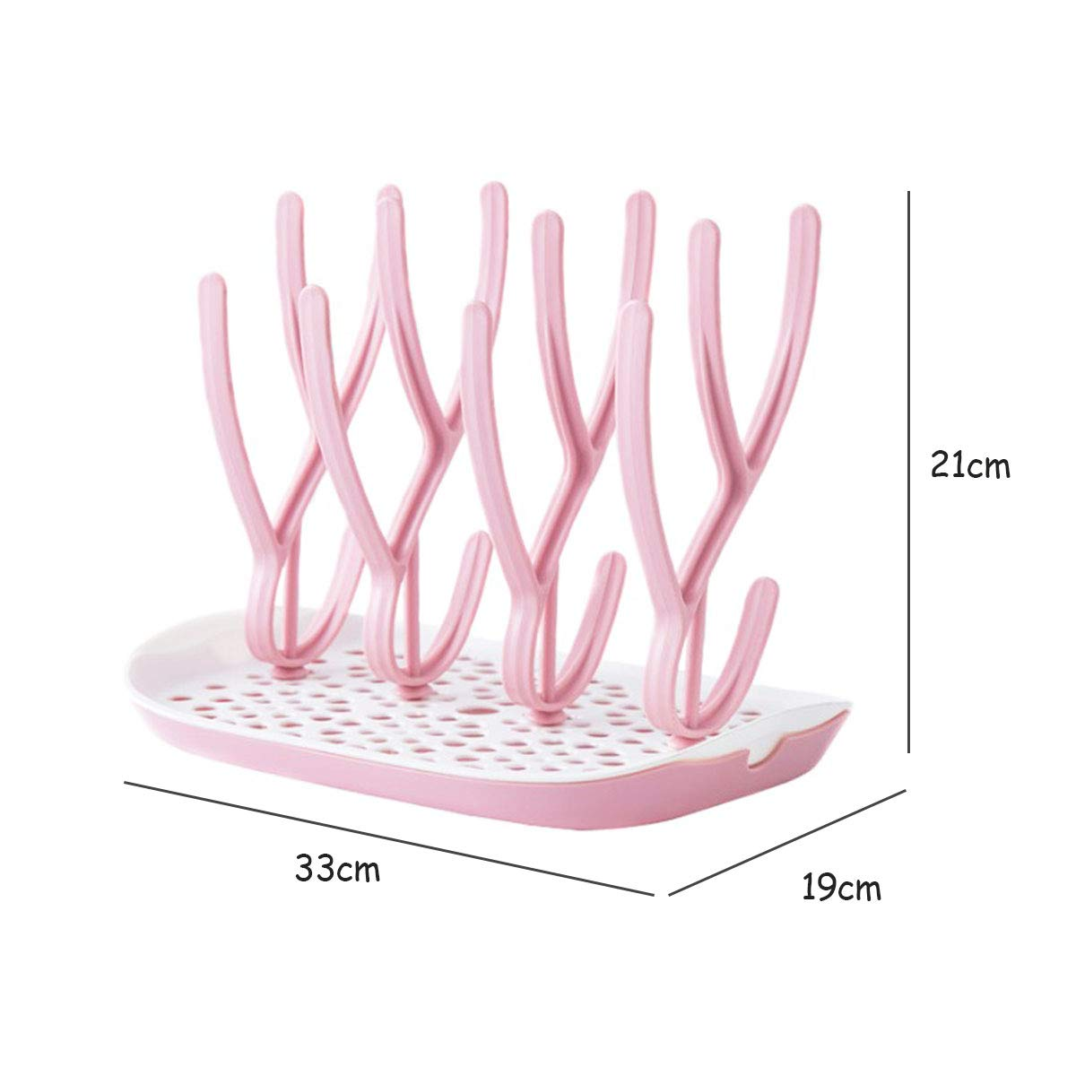 TANGGER Rosa Escurridor de Biberones /& Conjunto de 7 piezas Cepillos para Biberones Escurre Biberon,Libre de BPA