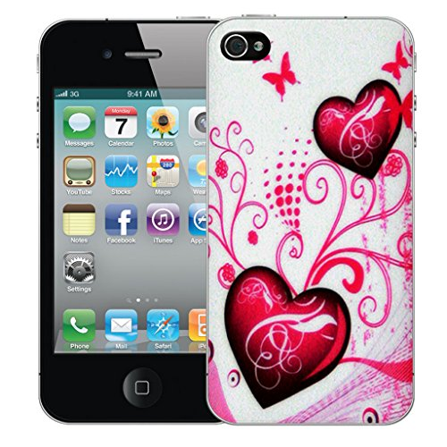 Mobile Case Mate iPhone 4s Silicone Coque couverture case cover Pare-chocs + STYLET - Pink Heart pattern (SILICON)