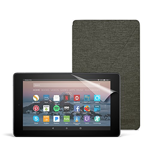 Fire 7 Essentials Bundle with Fire 7 Tablet (8 GB, Black), Amazon Cover (Charcoal Black) and Screen Protector (Clear)