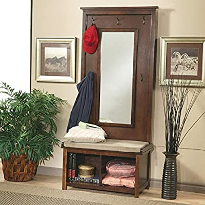 Wildon Home Bonney Lake Hall Tree - Indoor Furniture Bedrrom Living Room Multifunctional Storage Bench Organizer Cabinet - Padded cushion seat Storage Coat hooks Dark Walnut finish - hall-trees, entryway-furniture-decor, entryway-laundry-room - 51l3DCbk0hL. SS400  -